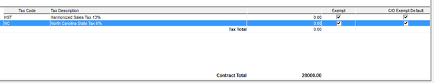 Pricing window; shows the Exampt and C/O Exempt Default columns on the tax line items.