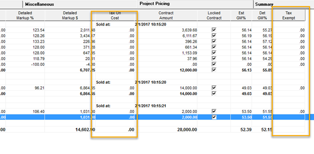 Pricing window; shows the Tax On Cost column in the Project Pricing column.