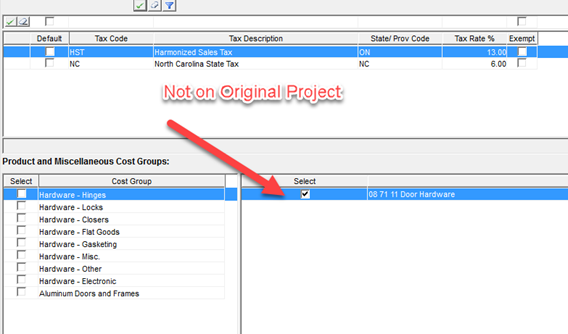 Project and Cost Group Tax Exempt / On Cost window; shows a cost group not included in the Original project.