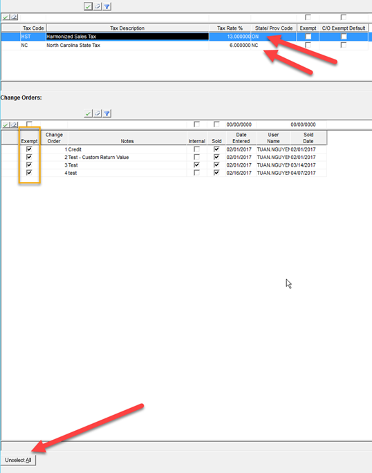 Project Pricing window; shows the Exempt column in the Change Orders pane, the tax State or Province, and the location of the Unselect All button.