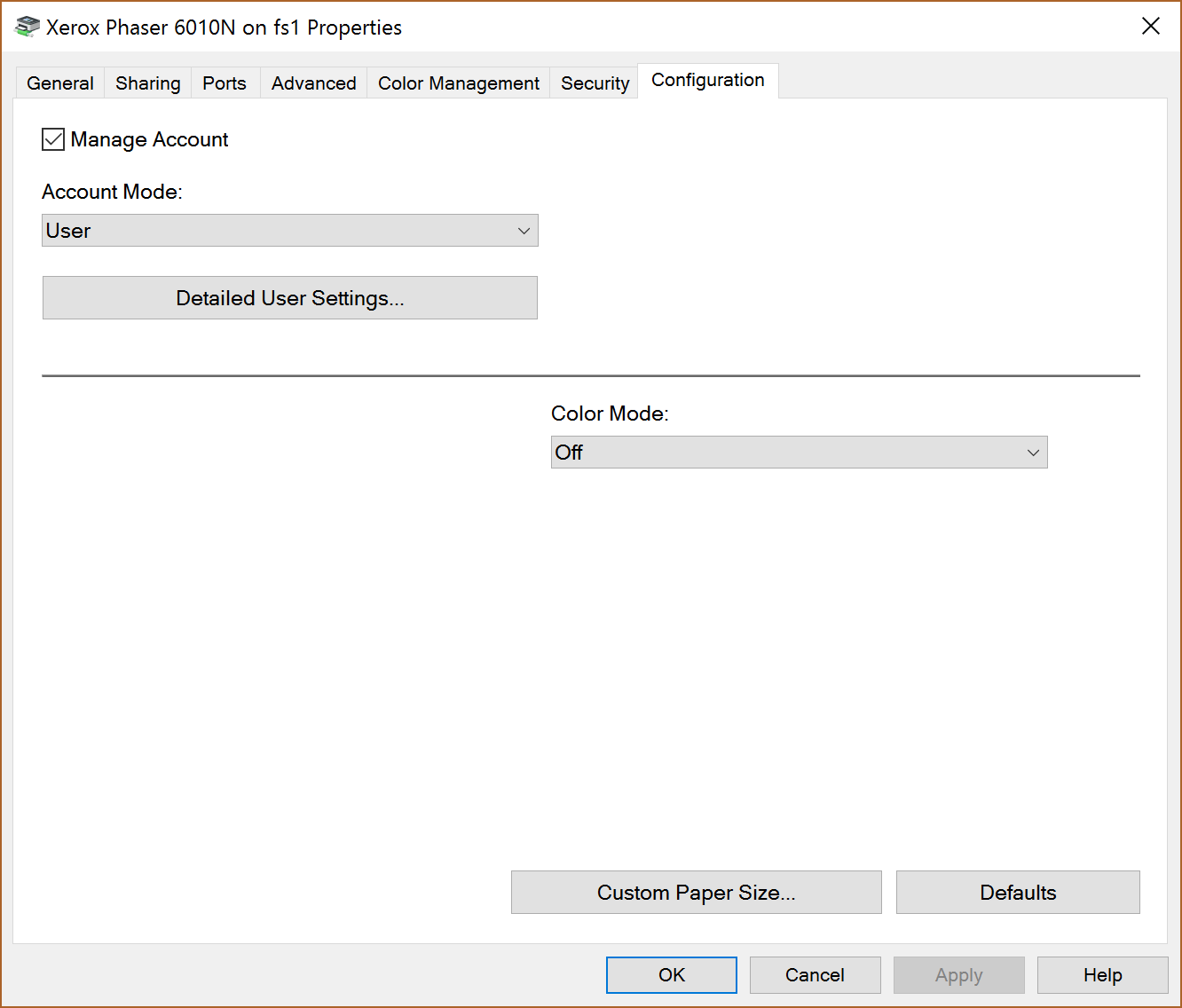 Configuration tab in the Printer properties window.
