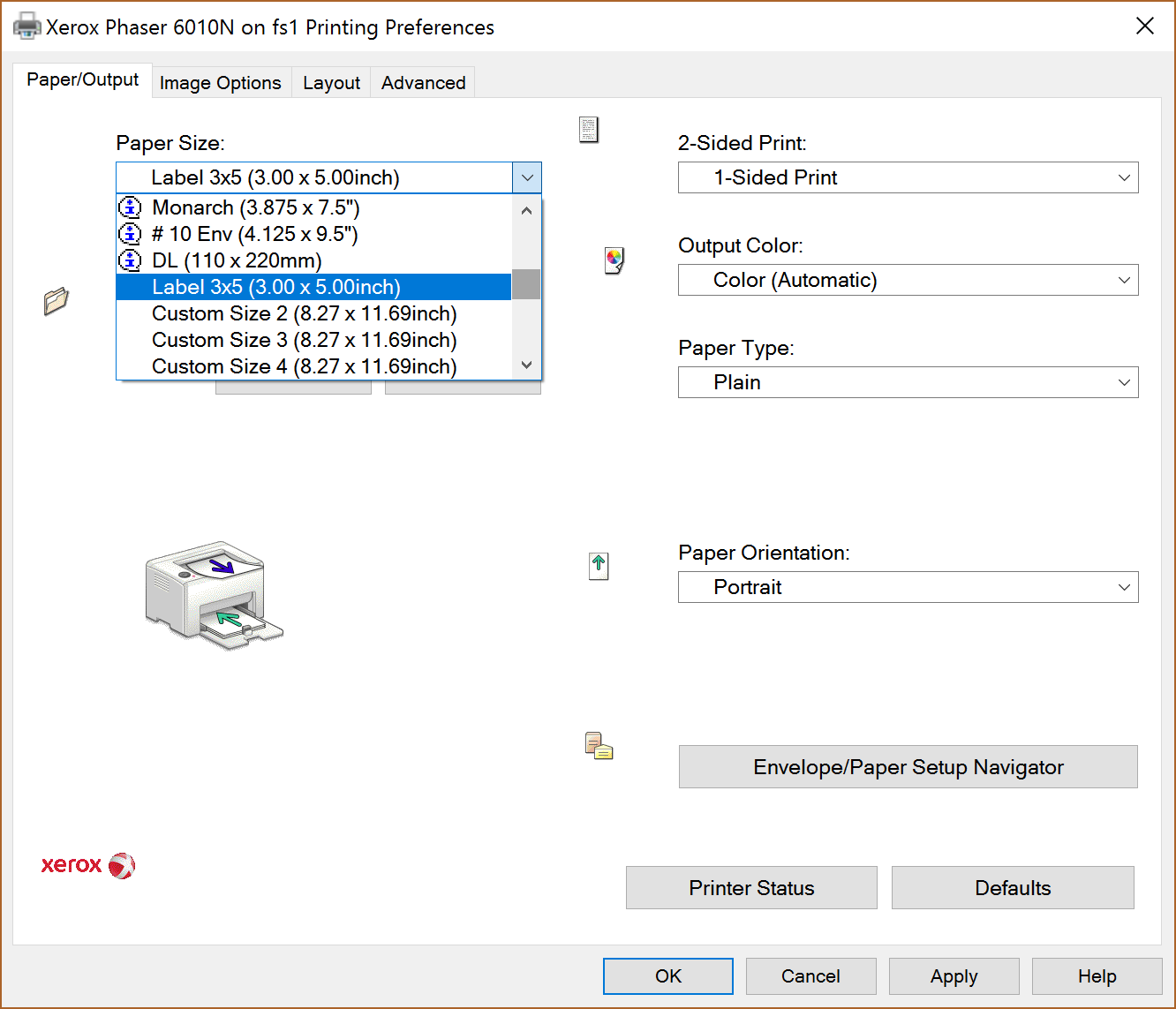 Printer Preferences window showing the custom paper size in the Paper Size drop-down menu.