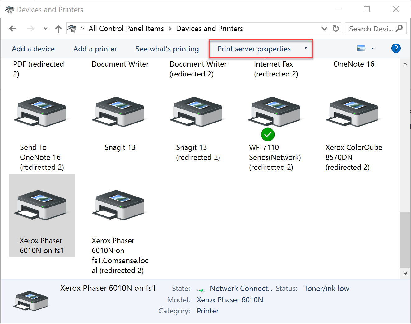 Devices and Printers window showing location of print server properties