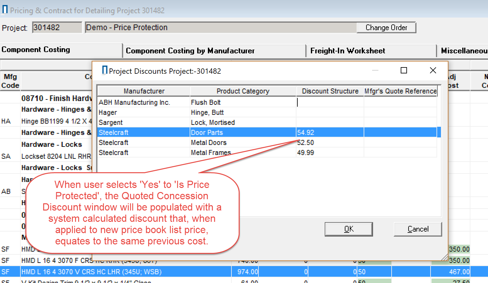 Project Discounts window; shows the discount structure column.