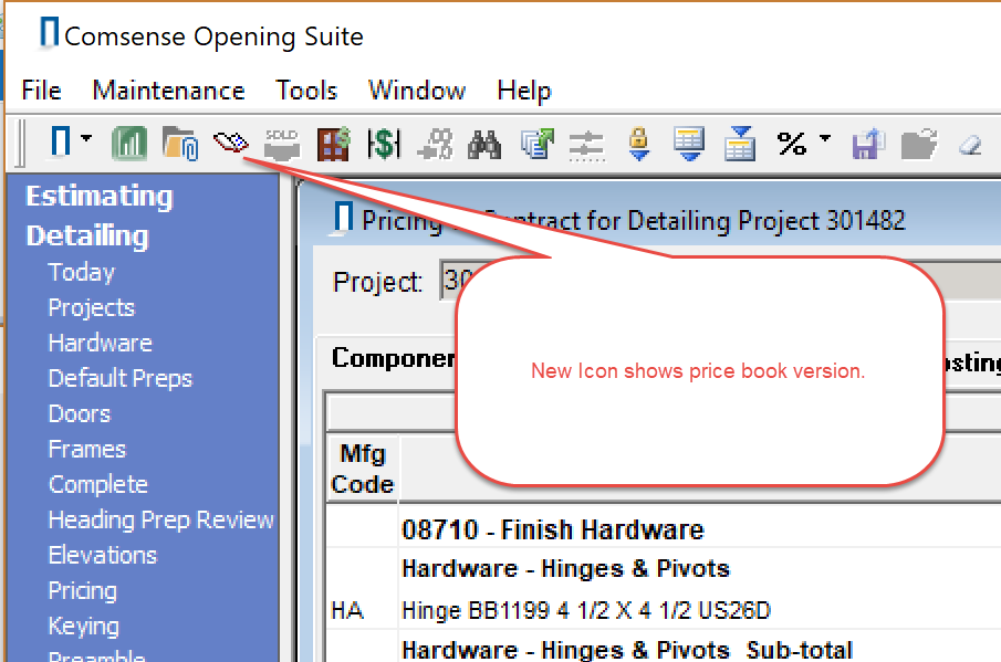 Pricing window toolbar; shows location of Price Book Version icon.