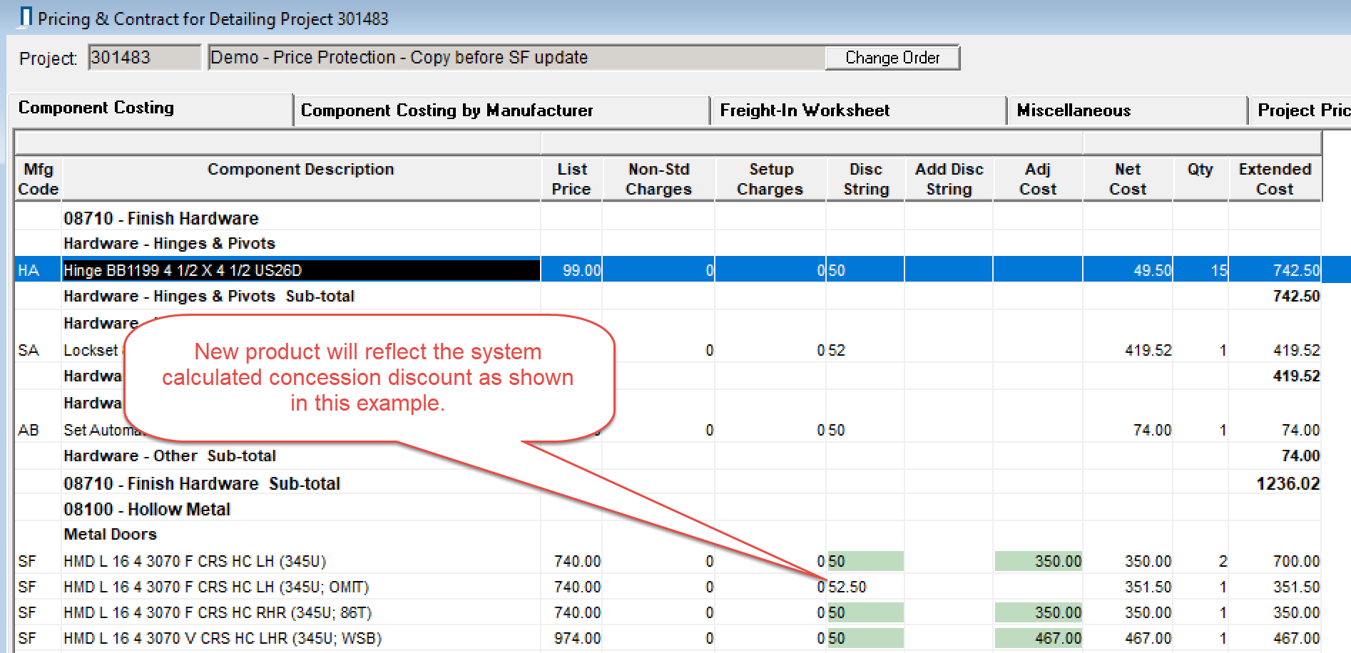 Pricing & Contract for Detailing window; shows the Discount String column reflecting the system calculated discounts.