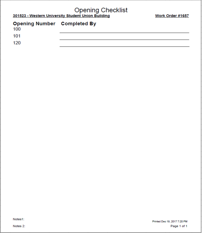 Example of Opening Checklist report.