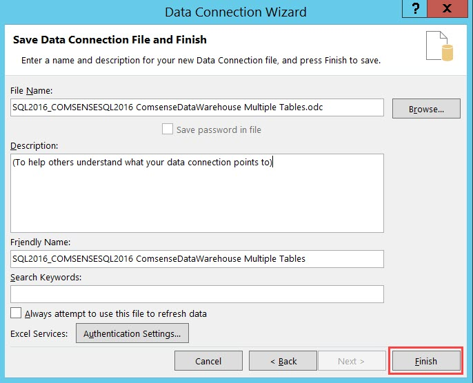 Data Connection Wizard, Save Data Connection File and Finish page; shows the location of the Finish button.