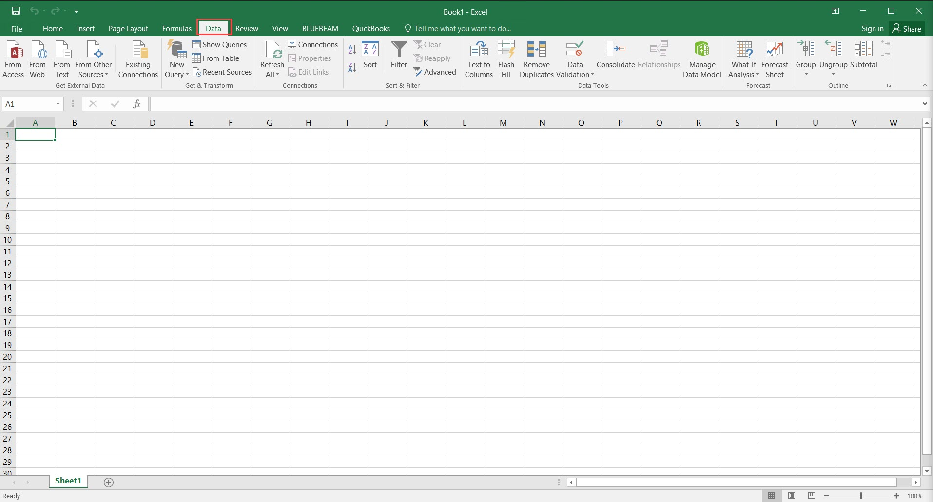 Excel Workbook; shows the location of the Data tab.