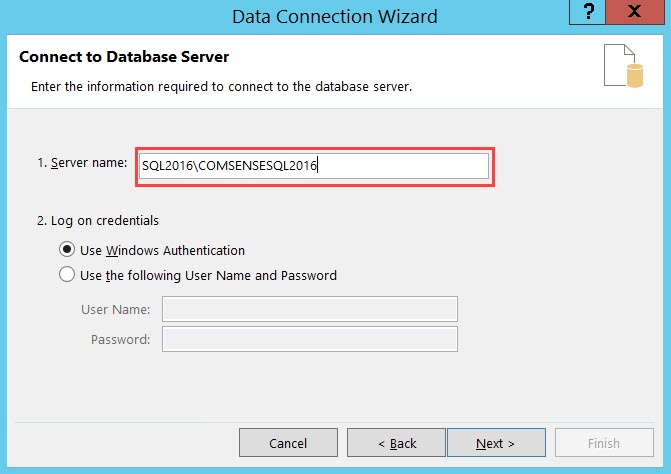 Data Connection Wizard, Connect to Database Server page; shows the Server name field with the server name entered.
