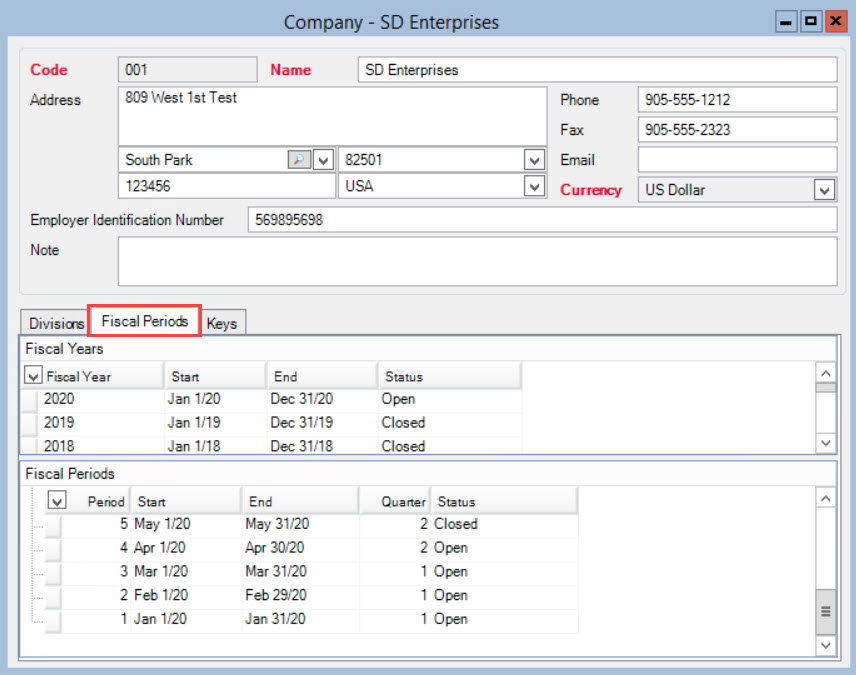 Company window; shows the location of the Fiscal Periods tab.
