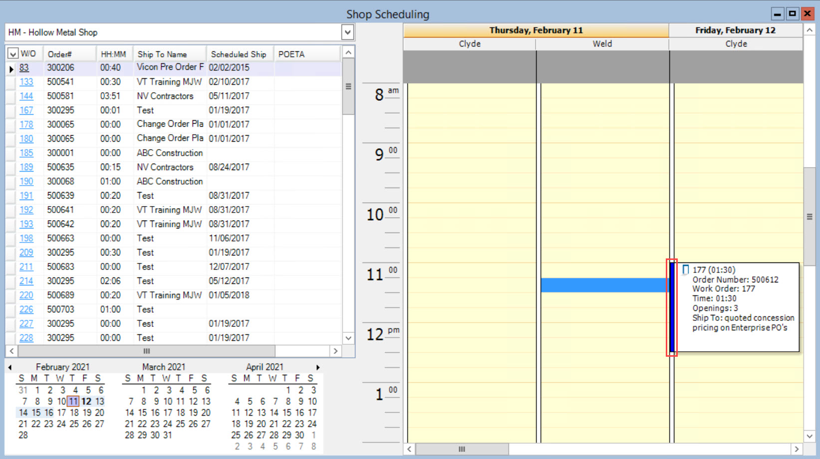 Shop Scheduling window, Schedule pane; shows the location of the blue line on the shop activity.