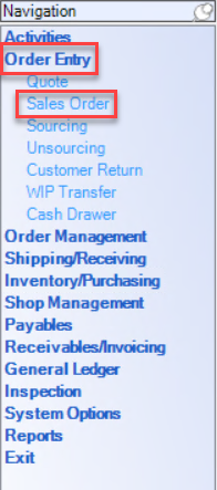 Enterprise left-hand navigation menu showing the location of Order Entry and Sales Order.