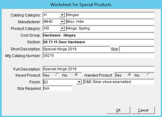Worksheet for Special Products window.