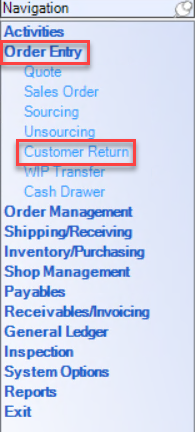 Enterprise left-hand Navigation menu showing the location of Order Entry and Customer Return.