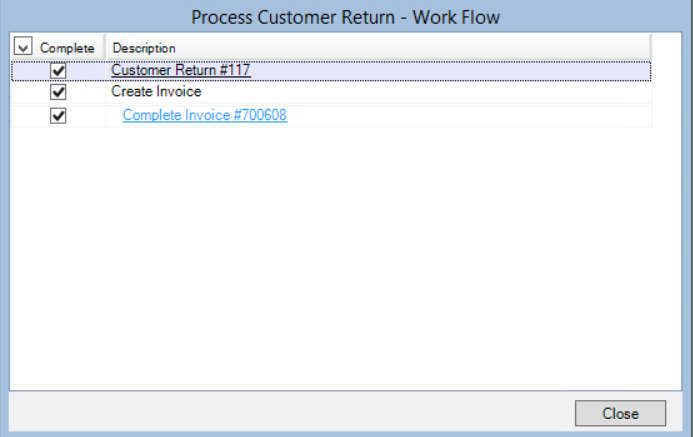 Process Customer Return Workflow window showing linkes to the customer return window and complete invoice window.