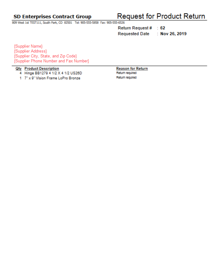 Example of Request for Product Return Report.