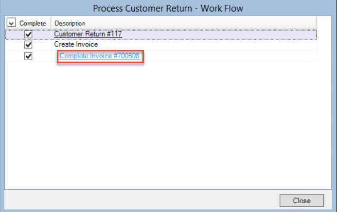 Process Customer Return - Work Flow window showing the location of the Complete Invoice link.