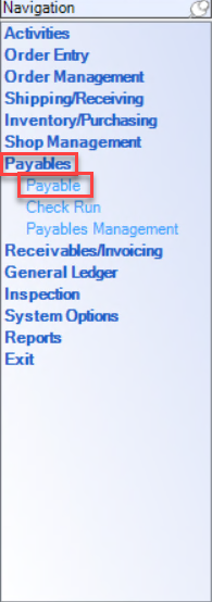 Enterprise Navigation menu showing the location of Payable.