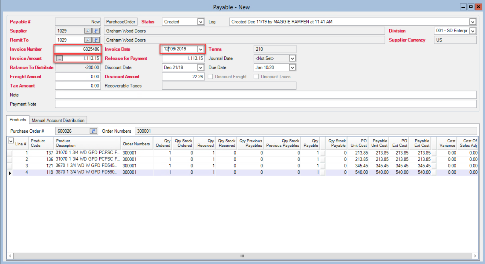 New payable window showing the location of the invoice data fields.