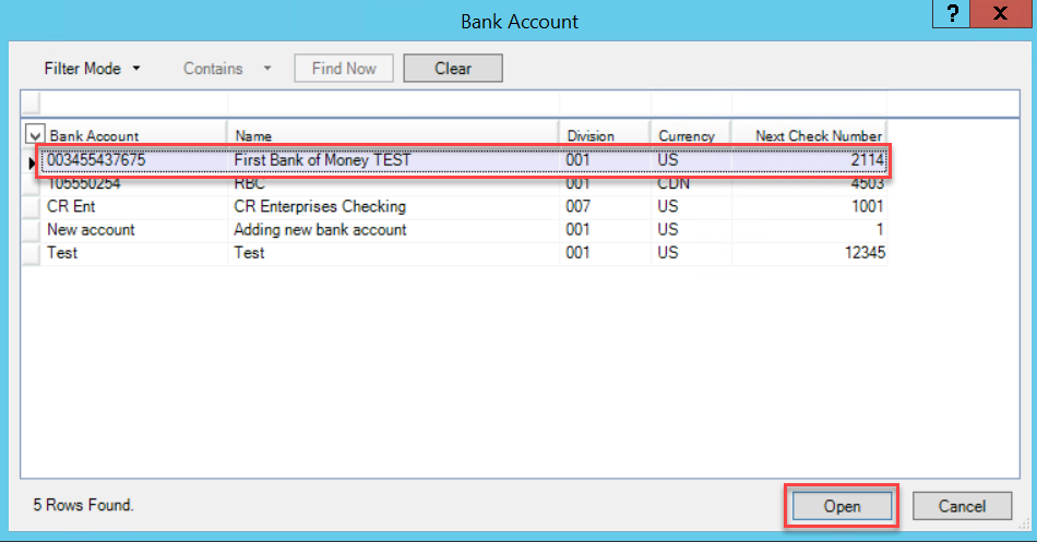 Bank Account window; shows the list of bank accounts and the Open button.