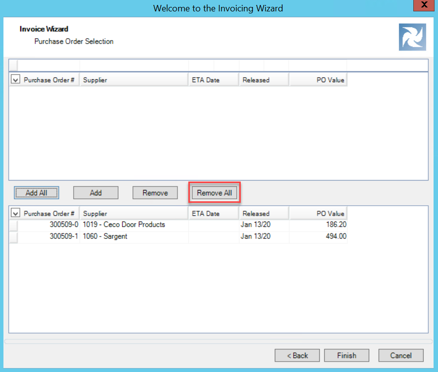 Invoicing Wizard; shows location of the Remove All button to remove purchase orders on the invoice.