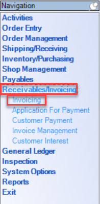 Enterprise left-hand navigation menu; shows location of Invoicing window.