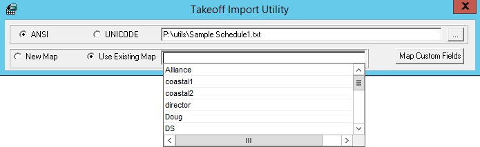 Takeoff Import Utility window; Use Existing Map drop-down menu.