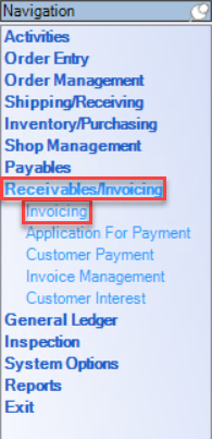 Enterprise left-hand Navigation menu; shows the location of Receivables/Invoicing and Invoicing.