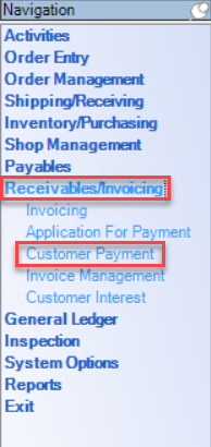 Enterprise left-hand Navigation menu; shows location of Receivables/Invoicing and Customer Payment.
