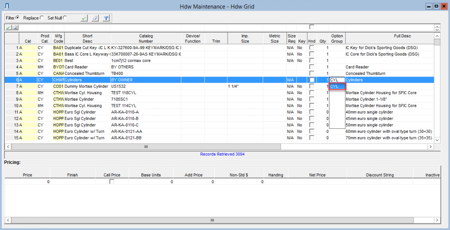 Hdw Maintenance - Hdw Grid window; shows a selected option group in the Option Group field.