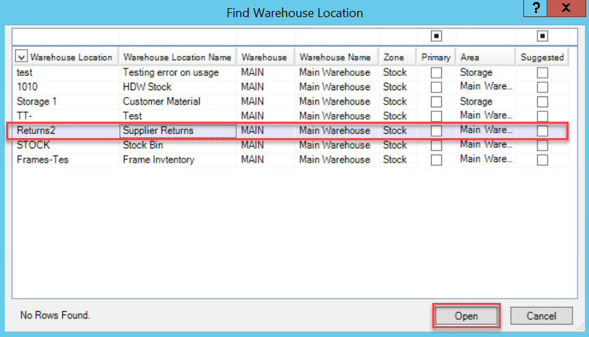 Find Warehouse Location window; shows location of the Supplier Return warehouse line item and Open button.