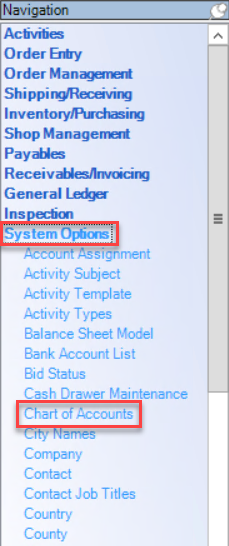Navigation Menu; shows location of System Options and Chart of Account