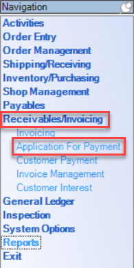 Enterprise Navigation menu; shows location of Receivables/Invoicing menu and Application for Payment.