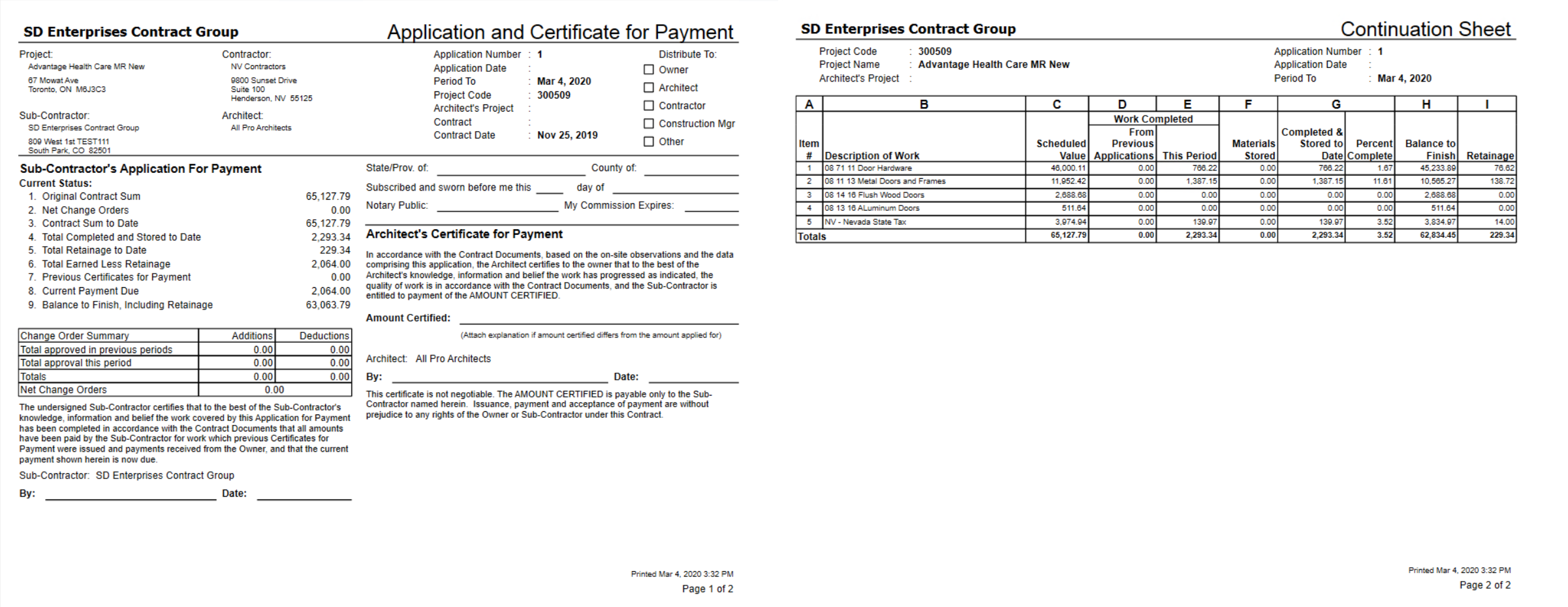 Application and Certificate for Payment Report.