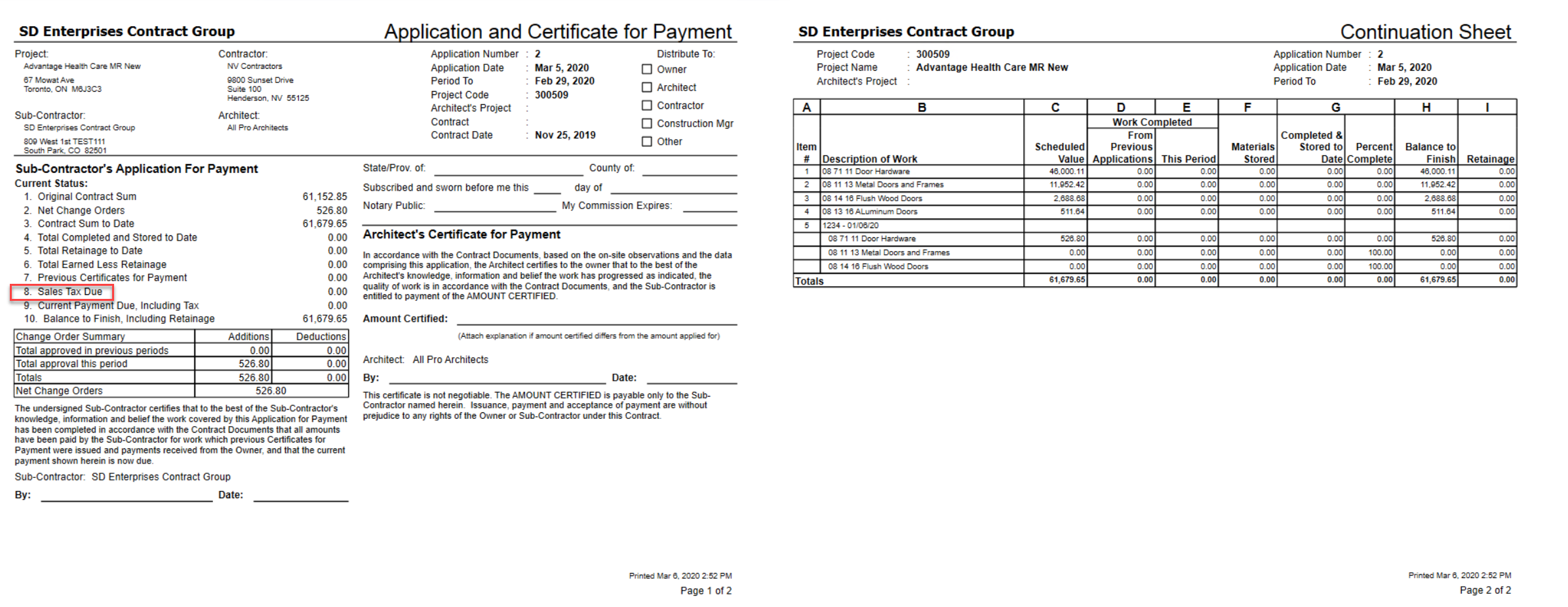 Applicationg and Certificate for Payment report; shows Sales Tax Due line item.