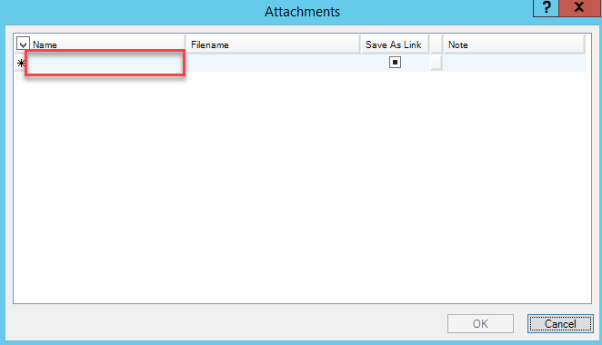 Attachments window; shows the Name field is on the left side of the window.