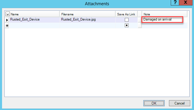 Attachments window; shows the filled in Note field.