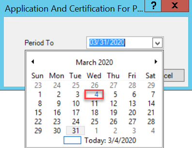 Application And Certification for Payment Period window; shows calendar drop-down and date selection.
