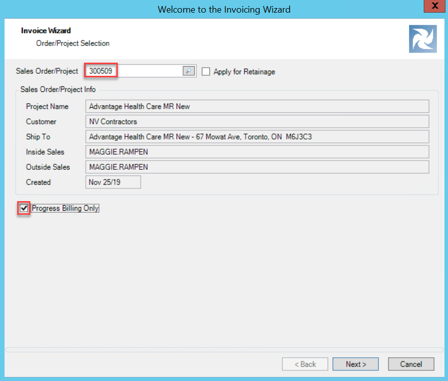 Invoicing Wizard; shows selected project number and checked Progress Billing Only Checkbox.