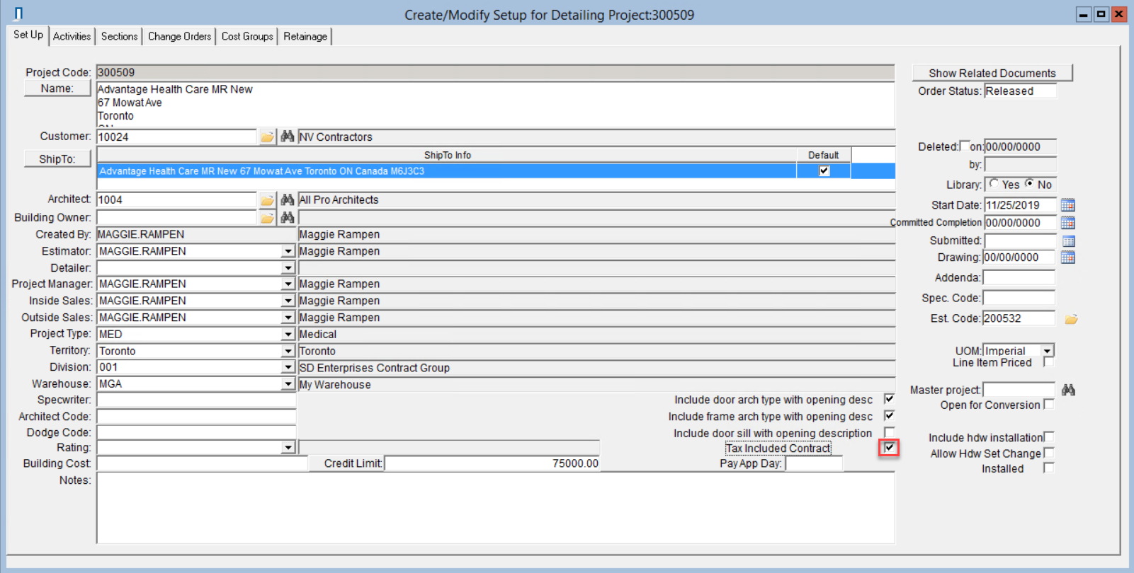Detailing Project window; shows locatin of Tax Included Contract checkbox.