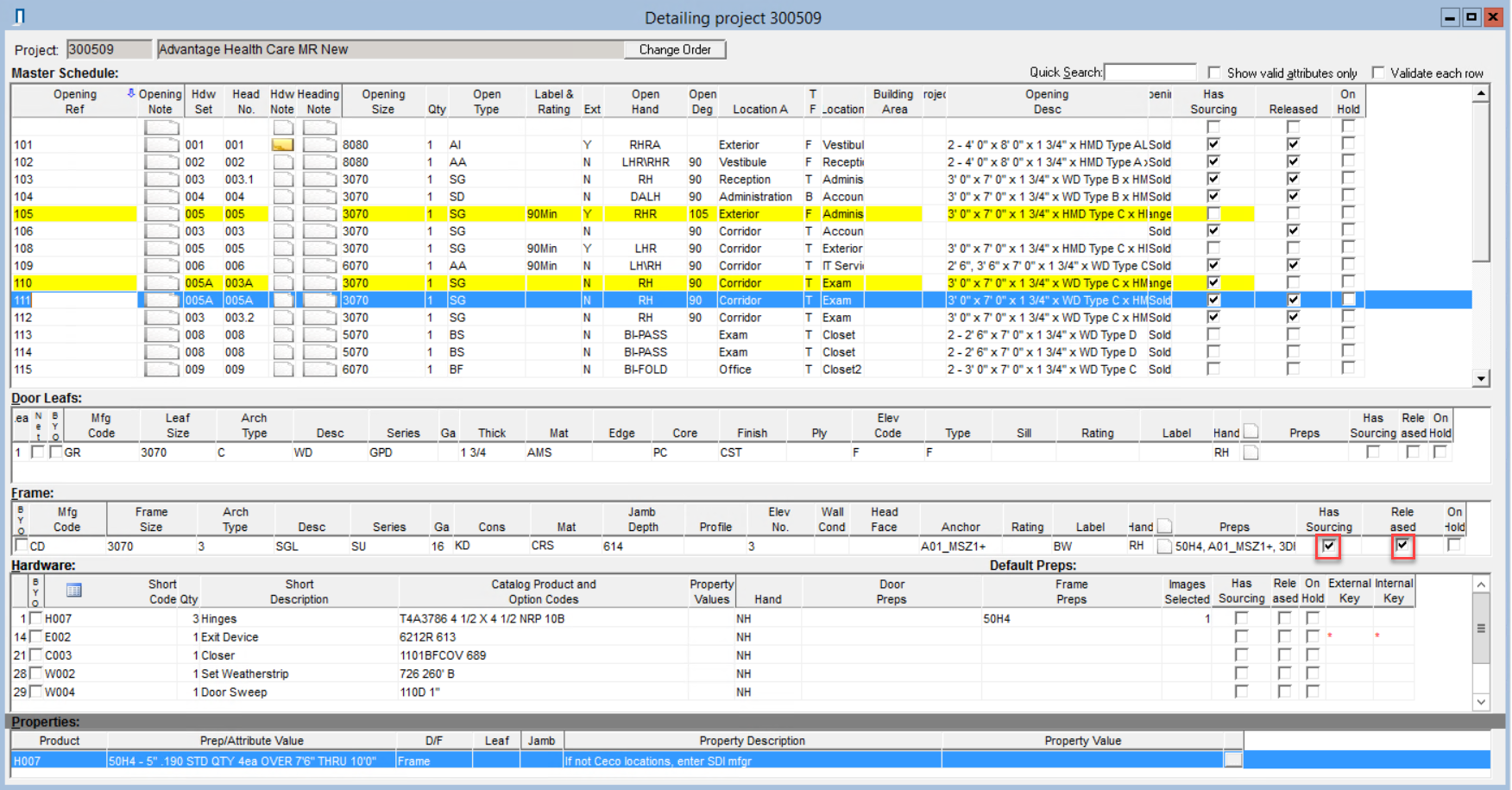 Complete window; shows the location of the Has Sourcing and Released checkboxes in the Frame pane.