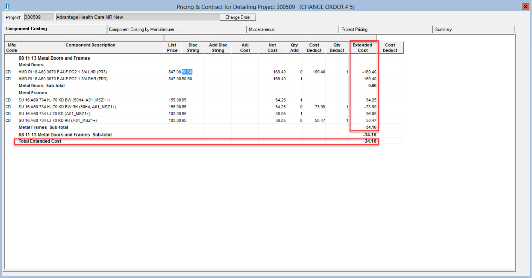 Pricing window; shows the location of the Extended Cost column and the Total Contract cost row.