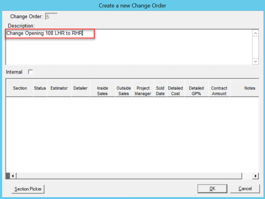 Create a New Change Order window; shows a description of the change order in the Description pane.