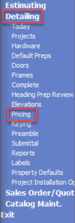 Advantage Navigation menu, shows the location of Detailing and Pricing.
