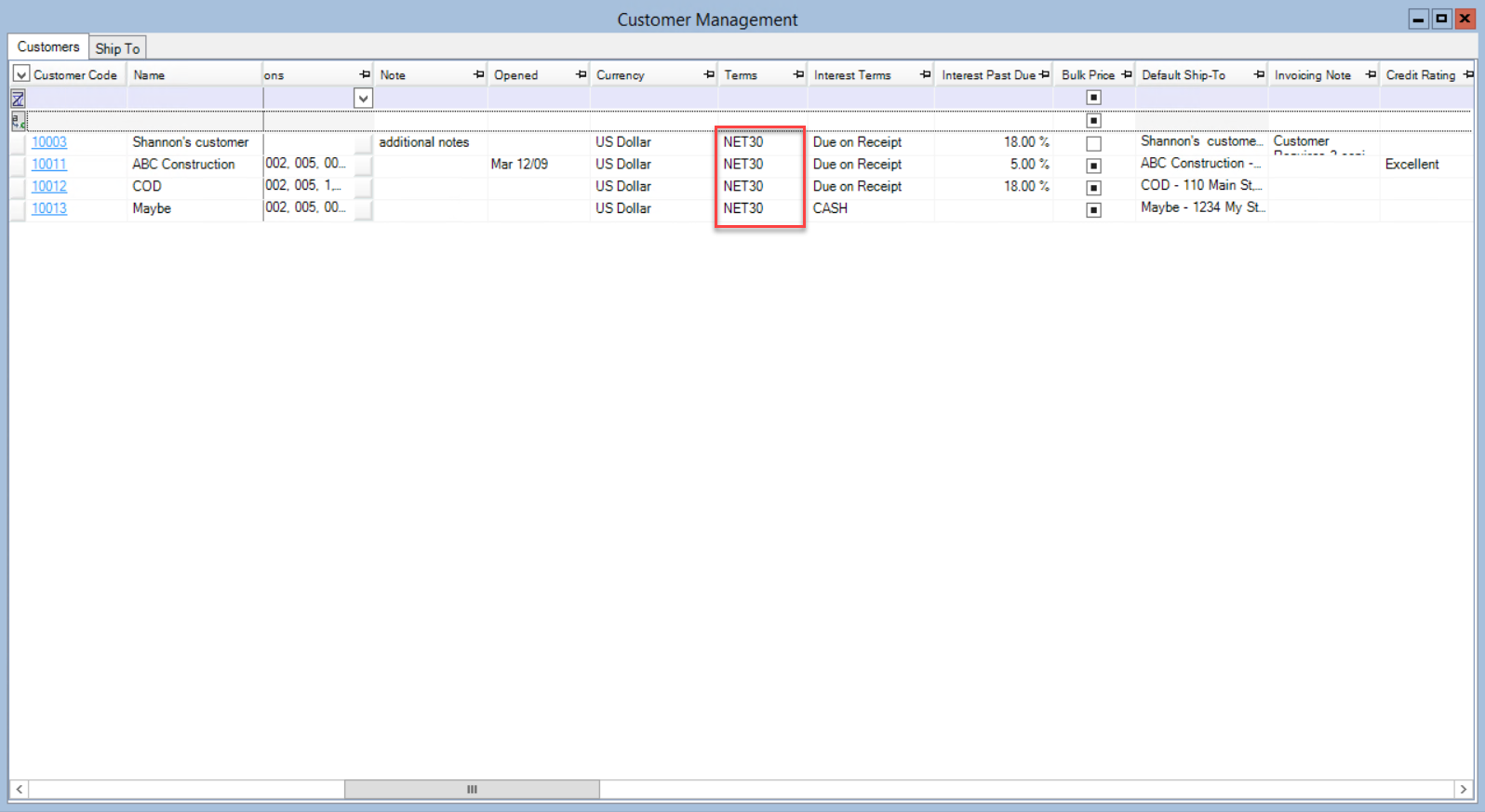 Customer Management window; shows the fields updated by the replace feature.