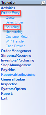 Enterprise Navigation menu; shows the location of Order Entry and Sourcing.