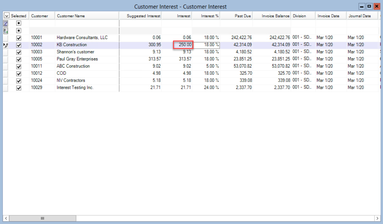 Customer Interest window; shows the updated interest amount.