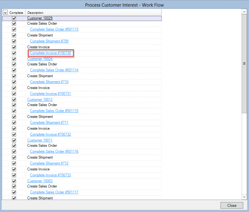 Process Customer Interest - Work Flow window; shows the location of a Customer Invoice line item.