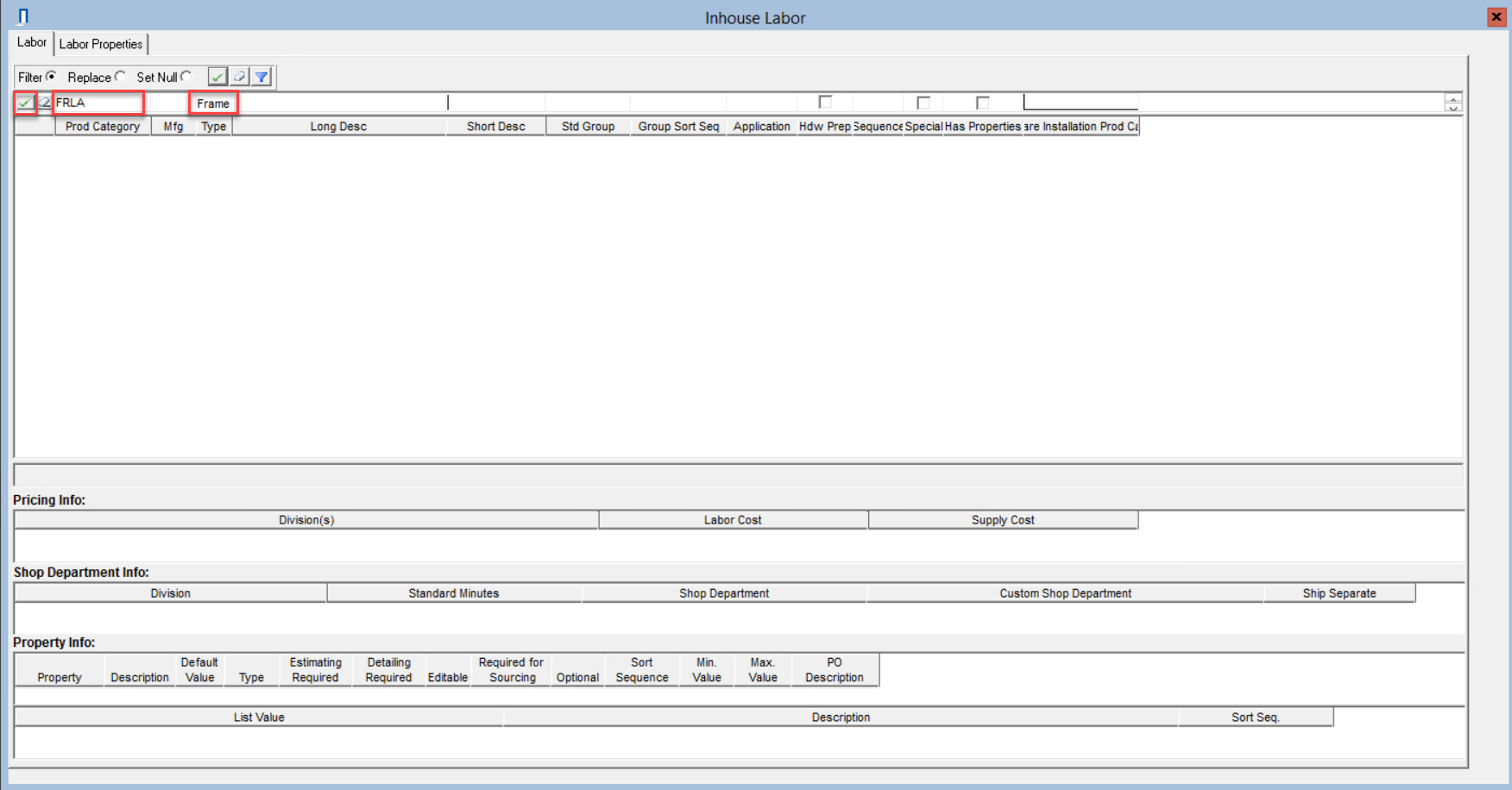 Inhouse Labor window; shows filter criteria in the line item fields and the location of the checkmark icon.